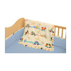 Room Magic - Cowboy Crib Set - This adorable Cowboy fabric design  has cactus, sherrif badges hats and colorful western boots of every kind. The 4 piece crib set includes bumper, solid crib sheet, crib comforter (print on top, solid on bottom) and gathered print crib skirt in the finest 100% cotton.