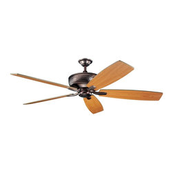 """DECORATIVE FANS - DECORATIVE FANS Monarch 70"""" Transitional Ceiling Fan X-BBO601003 - Subtle details are accented by a warm Oil Brushed Bronze finish on this Kichler Lighting ceiling fan. From the Monarch Collection, it also features reversible walnut and cherry fan blades."""