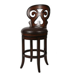 None - Hermosa 26-inch Wood Swivel Counter Stool - Constructed of real wood in a dark stain with rich, genuine leather, this beautiful swivel counter stool is ideal for your breakfast bar or dining area. Its large enough to be comfortable, and the carved back is both elegant and evocative.