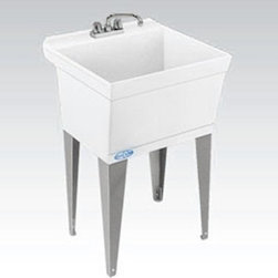 Mustee Utilatub 15F Single Basin Floor Mount Utility Sink - The Mustee Utilatub 15F Single Basin Floor Mount Utility Sink is the perfect choice for anyone who's ever written a fan letter to Mr. Clean. This deep, 19-gallon capacity utility sink is crafted from a single peice of Mustee's priopietary, thermo-plastic resin that's got a smooth surface that's easy to clean and ready for anything. A built-in scrub board and an integrated drip tray help you get the job done, while all that messy business stays safely inside. An integrally molded-in drain with stopper connects easily to a standard 1-1/2-inch P- or S-trap. Heavy gauge steel legs with adjustable levelers keep it upright and stable for years of regular use, and all you need is to add a dual-handle faucet with 4- or 8-inch center and you're ready to get scrubbin'.About E.L. Mustee & SonsSide-arm water heaters, hot plates and incinerators were all the rage when Emil Lawrence founded his innovative company back in 1932, and today, E.L. Mustee & Sons keep that spirit of customer-satisfying innovation alive with their full line of products that stress functionality, durability, and dependability. The full line of E.L. Mustee & Sons products include DURAWALL shower and bathtub walls, DURASTALL shower stalls, TOPAZ™ bathtubs, DURABASE shower floors, STYLEMATE shower enclosures, UTILATUB and UTILATWIN laundry tubs, DURATUB laundry cabinets, VECTOR™ and DURASTONE utility sinks, DURASTONE mop service basins, DURAPAN washer and water heater pans; and CareGiver easy-access showers, safety grab bars, and fold-down shower seats. The team at E.L. Mustee & Sons goes to great lengths to make sure that each product that leaves their U.S.-based production facility is the kind of long-lasting product that you'll use often.