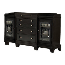 Homelegance - Homelegance Inglewood Server in Espresso - Sophistication merges with elegant lines and classic shapes in the Inglewood Collection. The bold server features wood and silver accented drawer knobs and glass door fronts, all accenting the deep cherry finish of the group. Turned legs support the classic tabletop while the traditional line of the accenting chairs make the Inglewood Collection perfect for the traditional modern home.