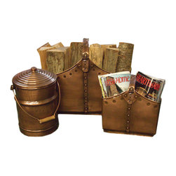 Three Piece Pure Copper Cauldron - The Three Piece Pure Copper Cauldron Basket Set is the perfect decorative item for all seasons.No need to leave logs or fire starters around or in a burlap bag when they can be stored in this handy, attractive copper tote set with added lidded pot perfect to store warm ashes safely and securely.