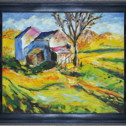 """overstockArt.com - Maurer - House in a Landscape Oil Painting - 20"""" x 24"""" Oil Painting On Canvas House in a Landscape an incredible piece in Maurer's series of Fauvist works. He uses rich, vibrant color in a skillful rendering of the countryside. Choppy brush strokes, yellow and orange hues make this a warm and inviting piece that will add a special glow to any room. Alfred Henry Maurer (1868 - 1932) was an American painter. He exhibited his work in Avant-garde circles internationally and in New York City during the early twentieth century. Highly respected today, his work met with little critical or commercial success in his lifetime. Having the distinction of being America's first modernist, Maurer experimented with many styles until settling into contemporary expression believing the overall perception of work was more important than the finer details. Above all, Maurer declared color arrangement to be the most important element in composition. He also believed art could not completely imitate nature, but nature could be intensified in art lending to his love and use of vivid color. Although much of Maurer's works are privately held, many are included in the collection of the Carnegie Museum of Art, the Chicago Art Institute, the Whitney Museum of American Art, and countless other across the nation."""
