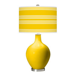 Color Plus - Contemporary Citrus Bold Stripe Ovo Table Lamp - I love this gold lamp base and striped lampshade. I have wanted this one forever!