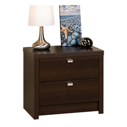 Prepac Furniture - Prepac Espresso Series 9 Designer 2 Drawer Nightstand - Create a modern, contemporary bedroom by adding the Prepac Espresso Series 9 Designer 2 Drawer Nightstand. Finished in a durable rich espresso laminate with stylish rectangular chrome-finished metal drawer pulls, it will enhance any modern decor. The nightstand with 22 inches tall has the ideal height for any standard height bed. Two smooth sliding drawers provide plenty of out-of-site storage.    Features: