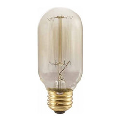 """Bulbrite - Bulbrite 134015 NOS40T14/SQ - 40W T14 Vintage Bulb - Medium Base - This Bulbrite NOS40T14/SQ 40 watt, T14 (1-3/4"""" diameter) nostalgic shape with thread filament, medium base bulb is crafted to preserve the vintage look of early 20th century lighting.With antique, clear finish, defined steeple and intricate visible filament design that produces a bright, warm amber glow, this bulb compliments traditional or contemporary decor. Applications include ceiling fixtures, pendants and outdoor residential light fixtures such as post tops."""