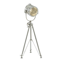 "ecWorld - Urban Designs 78"" Aluminum Sealight Adjustable Tripod Floor Lamp - Silver - Add character and design to any room with this unique floor lamp. A reproduction of a 19th century British marine light used to transmit Morse code, the sea light evokes both grand ocean liners and Old Hollywood. The height adjusts manually from 55"" to 78"". Crafted of solid cast aluminum, it is a classic of the genre."