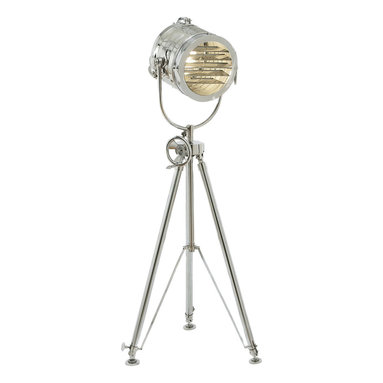 """ecWorld - Urban Designs 78"""" Aluminum Sealight Adjustable Tripod Floor Lamp - Silver - Add character and design to any room with this unique floor lamp. A reproduction of a 19th century British marine light used to transmit Morse code, the sea light evokes both grand ocean liners and Old Hollywood. The height adjusts manually from 55"""" to 78"""". Crafted of solid cast aluminum, it is a classic of the genre."""