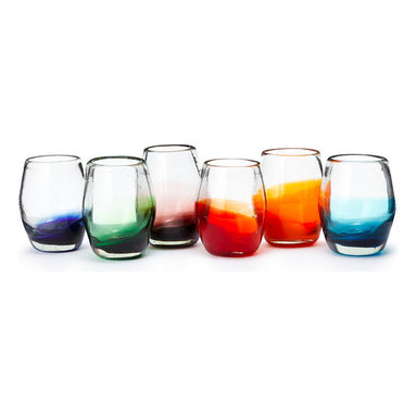 Inova Team -Contemporary Colorful Galss - Set of 6 - Handmade by Mexican artists, each piece in this festive glassware set is mouth blown from recycled glass to create six unique renditions of a stemless goblet. Their silhouette lends a sleek, modern touch to your tabletop, while the spectrum of ombre bottoms serve as colorful markers to help you keep track of your glass during a party.