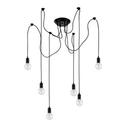 Ohr Lighting® - Ohr Lighting® Edison Pendant Light Chandelier 6 Pendants, Matte Black - Features
