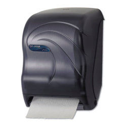 SAN JAMAR - OCEANS TEAR-N-DRY TOUCHLESS TOWEL DISPENSR - Sanitary touchless dispensing prevents germ spread. Quick paper delivery-just tear off towel and sensor activates to present another! Portion control provides 10-in. length every time. Dispenses all qualities of paper without jamming. Holds roll up to 8-in.w x 8-in.dia and one 4-in.dia stub roll. Automatic transfer device allows complete usage of stub roll to eliminate waste. Lock prevents pilferage. Operates on four D alkaline batteries (sold separately); battery usage equivalent to dispensing 100, 800-ft. rolls. Break-resistant plastic. Decorative natural wave design. Black Pearl. 13w x 9d x 151/2h.. . . . . . . Black Pearl. Oceans® Tear-N-Dry™ Touchless Roll Towel Dispenser. Dimensions: Height: 0.83333, Length: 1.39583, Width: 1.02083. Country of Origin: US   CAT: Paper & Dispensers Dispensers Dispensers