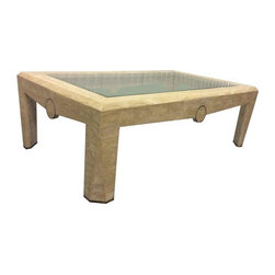 Pre-owned Maitland Smith Tesselated Stone Coffee Table - A fabulous 1980s modern tessellated stone with brass detail by Maitland Smith. The table is in good vintage condition with some wear due to age and use. There is a chip to the glass, shown the last photo; the table needs new glass.