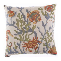 Canaan Company - Crab Walk Damask 24 x 24 Pillow - - 24 x 24 Zippered removable cover with feather and down insert.  - Fill Material: 95% Feather and 5% Down  - Spot Clean or Dry Clean  - Fabric Content: Damask Canaan Company - 2125