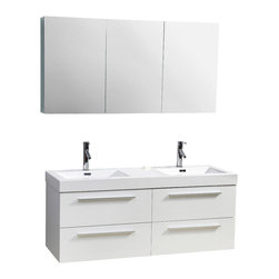 Virtu USA - 54in. Finley Double Sink Bathroom Vanity - Gloss White - The Finley vanity is the very definition of quality and elegance wrapped in an ultra-modern design. Featuring four spacious drawers all mounted on soft closing slides, a high gloss polymarble basin for an easy clean, and a finish that will look marvelous for years to come. If you're looking for a vanity to impress any guest of any caliber look no further as the Finley is it.