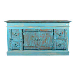 Sierra Living Concepts - Blue Rustic Reclaimed Wood 4 Drawer Sideboard Buffet - The cool blue of a summer's day can be brought inside with our Sky Blue Reclaimed Wood Buffet.
