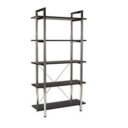 Eurostyle - Laurence-5 Bookcase-Brn/Ch - The distinguished look of leather and the refined shine of chrome are on display in this eye-catching bookcase. It stands proud, waiting for you to store books and decorative accessories on its five shelves.