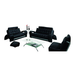 VIG Furniture - Bentley Black & Grey Bonded Leather Three Piece Sofa Set - The Bentley sofa set will add a modern touch to any decor while having you relax in comfort. This sofa set comes upholstered in a beautiful black bonded leather in the front with a grey backing that adds to the overall look. High density foam is placed within each piece for added comfort. Each piece features a unique design with modern curves and open arm design. The sofa set includes one sofa, loveseat, and chair only.