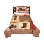 Pem America - Cowboy Full / Queen Quilt with 2 Shams - Cowboys features classic images of the Wild West with boots, a ten gallon hat, and the Sherriff�s star. Quilts are all cotton and the pattern is fully accessorized.  The quilt pattern is a mixture of earth tones that make it easy to coordinate and bedroom to this pattern.  For added impact bright reds and yellows dominate the applique icons over the whole face of the quilt. Hand crafted set includes 1 full/queen quilt (86x86 inches) and 2 standard shams (20x26 inches). Face cloth and fill are 100% natural cotton. Prewashed for out of the bag comfort.