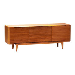 Greenington - Currant Sideboard - Give your dishes a sleek and sturdy home with this solid bamboo sideboard. The vintage-inspired shape is modernized by the versatility of the piece: The low legs make it useful as a buffet as well as a storage space.