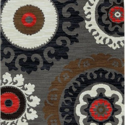 "Karastan - Panache Indonesia Bungee Cord Contemporary Suzani 5'6"" x 8'3"" Karastan Rug(9757 - With ancient roots these wonderful pattern design couldn"