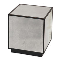 Uttermost - Matty Mirrored Cube Table - Who needs mirror balls when you've got this ultramodern mirrored cube? An update on the ottoman, this chic table with antiqued mirrors has an aged reddish-black edge and base, for extra refinement.