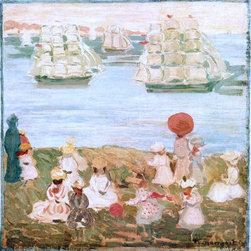 "Maurice Prendergast The Pretty Ships (also known as As the Ships Go By) - 16"" x - 16"" x 16"" Maurice Prendergast The Pretty Ships (also known as As the Ships Go By) premium archival print reproduced to meet museum quality standards. Our museum quality archival prints are produced using high-precision print technology for a more accurate reproduction printed on high quality, heavyweight matte presentation paper with fade-resistant, archival inks. Our progressive business model allows us to offer works of art to you at the best wholesale pricing, significantly less than art gallery prices, affordable to all. This line of artwork is produced with extra white border space (if you choose to have it framed, for your framer to work with to frame properly or utilize a larger mat and/or frame).  We present a comprehensive collection of exceptional art reproductions byMaurice Prendergast."