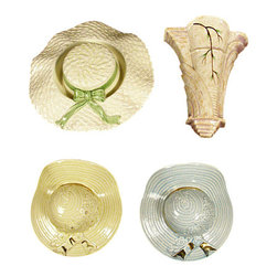Antiques - Vintage English Set 4 Art Deco Burleigh Ware Pottery Wall Planter Pockets - Country of Origin: England 2 Small Straw Hats 1 Big Hat 1 Scance Planter Attractive Decorations Ribbons with 22 Carat Gold Accents Pastel Colors Traditional DesignsThis is a beautiful vintage English set of four Burleigh Ware wall pockets. The set includes 3 straw hats and 1 Art Deco sconce. They have very beautiful designs adorned with lovely flowers, ribbons decorated with 22 carat gold and foliage. Overall they're in very good condition even though the sconce and the big hat have minor age appropriate flaws that are barely visible. They have very attractive pastel colors which are suitable with many decors. Imported from England.Other Dimensions (In inches)Big Hat 2.5H x 10Dia2 Small Hats 3.25H x 7W x 6.75D