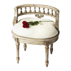 Butler Furniture - Vanity Seat - Hand painted finish on selected hardwoods and wood products with gold highlights. Hand carved details. Upholstered seat cushion with cotton hob nail fabric.