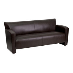 Flash Furniture - Flash Furniture Hercules Majesty Series Brown Leather Sofa - 222-3-BN-GG - Having the right office waiting room furniture is essential for companies wanting to send the proper message to both clients and employees. Not only will this sofa fit in a professional environment, but will add a chic look to your living room space. This leather chair will get the message sent properly with its uncomplicated yet attractive design to fit in a multitude of environments. [222-3-BN-GG]