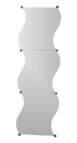 Set of 3 Wave Mirrors with Fixation Kit 11.8-Inch X 11.8-Inch - This set of 3 wave mirrors for bathrooms is supplied with a fixation kit. These decorative bath wall mirrors give any room added appeal with unique style. The three individual pieces can be grouped together or hung separately, with the fixation kit included (4 decorative round wall-mounting devices per mirror).This set includes 3 pieces, length 11.8-Inch, width 11.8-Inch and thickness 0.08-Inch. Clean with warm soapy water. Whether you are adding a decorative touch to a wall or are in need of a mirror for more practical purposes, this set of wave mirrors is an ideal choice and will give your bathroom a modern and elegant style! Complete your decoration with other products of the same collection. Imported.