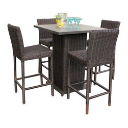 TKC - Rustico Pub Table Set With Barstools 5 Piece Outdoor Wicker Patio Furniture - Features: