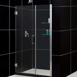 """Dreamline - Unidoor 54 to 55"""" Frameless Hinged Shower Door, Clear 3/8"""" Glass Door - The Unidoor from DreamLine, the only door you need to complete any shower project. The Unidoor swing shower door combines premium 3/8 in. thick tempered glass with a sleek frameless design for the look of a custom glass door at an amazing value. The frameless shower door is easy to install and extremely versatile, available in an incredible range of sizes to accommodate shower openings from 23 in. to 61 in.; Models that fit shower openings wider than 31 in. have an adjustable wall profile which allows for width or out-of-plumb adjustments up to 1 in.; Choose from the many shower door options the Unidoor collection has to offer for your bathroom renovation."""