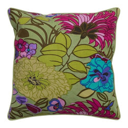 Rizzy Home - Rizzy Home Sage Green Bold Flower Pattern Decorative Throw Pillow - T05165 - Shop for Pillowcases and Shams from Hayneedle.com! The Rizzy Home Sage Green Bold Flower Pattern Decorative Throw Pillow has retro fabulous colors that make your sofa sing. This stylish accent pillow is made of cotton canvas with a large scale floral in colors you love. Sage green fuchsia teal and more make this pillow perfect. It includes a hidden zipper and plush removable polyester insert. Machine wash the cover on gentle and lay flat to dry.About Rizzy HomeRizwan Ansari and his brother Shamsu come from a family of rug artisans in India. Their design color and production skills have been passed from generation to generation. Known for meticulously crafted handmade wool rugs and quality textiles the Ansari family has built a flourishing home-fashion business from state-of-the-art facilities in India. In 2007 they established a rug-and-textiles distribution center in Calhoun Georgia. With more than 100 000 square feet of warehouse space the U.S. facility allows the company to further build on its reputation for excellence artistry and innovation. Their products include a wide selection of handmade and machine-made rugs as well as designer bed linens duvet sets quilts decorative pillows table linens and more. The family business prides itself on outstanding customer service a variety of price points and an array of designs and weaving techniques.