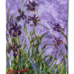 """Home Decorators Collection - Monet Irises Tapestry - Impressionist artist Claude Monet once said, """"My garden is my most beautiful masterpiece."""" It's easy to see the truth of this sentiment in the light brushstrokes and deep, fresh colors in this design. The Monet Irises Tapestry is expertly woven with a careful attention to detail in order to maintain the richness and elegance of the original piece. Order today from our wall decor.Jacquard woven by artisans using the latest computer-based looms.Made in the U.S. of the finest 100% cotton.Tapestry rod and hanging hardware not included."""