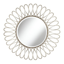 "Lamps Plus - Openwork Sari Silver Petal 37 1/2"" High Round Wall Mirror - Add modern class to your home with this minimal mirror. The mirror glass is surrounded by silver metal wiring spun around the edge and fashioned into simple petals. Elegant and sleek. Metal frame. Painted silver metallic finish. Metal openwork. 37 1/2"" round. 2"" deep. Beveled mirror glass is 20"" wide. Hang weight 12 pounds.  Metal frame.  Painted silver metallic finish.  Metal openwork design.  37 1/2"" round.  2"" deep.  Beveled mirror glass is 20"" wide.  Hang weight 12 pounds."
