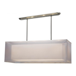 Four Light Brushed Nickel Organza White Shade Island Light - This contemporary fixture uses a rectangular, white outer organza shade to allow a glimpse of the inner opaque shade, which emanates a soft glow. The hardware is finished in brushed nickel and includes telescoping rods to ensure a perfect hanging height. This fixture would be perfect for any contemporary space.  A removable diffuser is included to soften the light.
