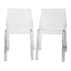 Baxton Studio - Baxton Studio Charo Acrylic Clear Chair Set of 2 - Made of transparent clear acrylic, this modern accent chair is surprisingly both eye-catching and unobstructive in its appearance. The chair, which is lightweight yet strong and supportive, has unique ribbed surfaces that command attention on an otherwise basic piece of furniture. Included on the feet are non-marking plastic stoppers to prevent scratches on sensitive hard flooring. This chair will arrive fully assembled.