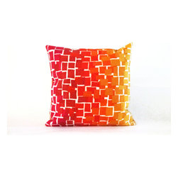 "Ombre Tile Warm Print 20"" By 20"" Decorative Throw Pillow - This beautiful indoor / outdoor decorative throw pillow is made of 100% polyester microfiber. The cover has a zipper closure so you can take out the fiberfill inner pillow for hand-washing if you need to. The pillow measures 20 inchs by 20 inches. It looks just as great in your home or on your patio or wherever you want a dash of color."