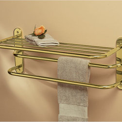 Double Towel Rack - This wall mount shelf with two towel bars is perfect for storing extra linens and hanging towels to dry. Perfect for high traffic bathrooms and guest rooms.