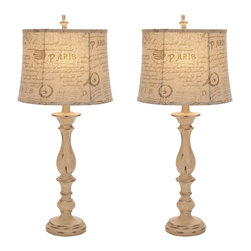 "Casa Cortes - Urban Designs French Connection Candlestick Style 34"" Table Lamp - Set of 2 - A visually entertaining floor lamp with a traditional candlestick design. The distressed finish adds a classic antiqued elegance while the warm custom imprint bell shade perfectly distributes the light. A timeless and elegant design for any space."