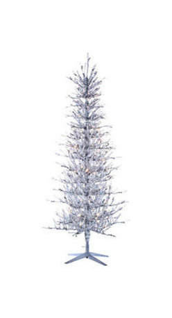 Silver Tinsel Pre-Lit Christmas Trees - 5 ft. x 27 in. Artificial Christmas Tree