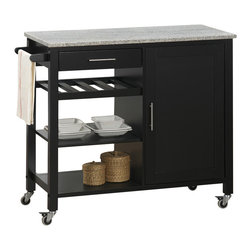 Sunset Trading - Eco-Friendly Kitchen Cart - Multifunctional and convenient mobile design with locking wheels. Ease of access with shelving for variety of storage options. Solid granite top in gray. Brushed nickel hardware and towel bar add style, function and quality. Three open shelves for storage or display. One utility drawer for utensils or linens. Large cabinet with one non-adjustable shelf. Warranty: One year. Made from Malaysian oak solids and veneers. Black finish. 39 in. L x 19 in. W x 34 in. H (114.5 lbs.)Add plenty of extra storage space to your kitchen, dining or entertainment room with this versatile Sunset Trading cart. Maximize the functionality of your kitchen with style by adding a kitchen cart from Sunset Trading Sunset Dining Collection. Increase your kitchen storage and functionality for years to come without breaking the budget!