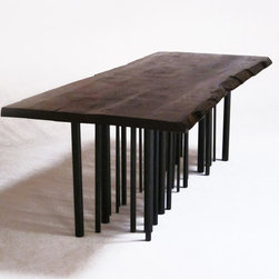 Live Edge Dining Table - Gorgeous live edge dining table with steel tubular legs.