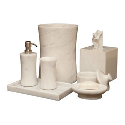 Designs by Marble Crafters - Vinca 7-Piece Bathroom Accessories - Pearle White Marble - BA01-PW - Shop for Bedding Sets from Hayneedle.com! Decorate your master bath in opulent functional luxury by adding the Vinca 7-Piece Bathroom Accessories - Pearle White Marble. All pieces in this comprehensive set are handcrafted of beautiful pearle white marble and each includes protective felt on the bottom to protect your floors and countertops. About Designs by Marble Crafters Inc. Designs by Marble Crafters Inc. a Dallas-Fort Worth-based company offers exquisite handcrafted stone products each item a result of over two decades experience in the art of stonecraft. Using genuine marble and onyx from the Himalayas and the Arabian Sea the company s craftsmen turn the natural hard rocks in to polished masterpieces. Several rounds of hand sanding produce a natural brilliance radiating from the stone itself not from a chemical glaze like other stone products. The company also prides itself on its unparalleled manufacturing customer service and prompt delivery.