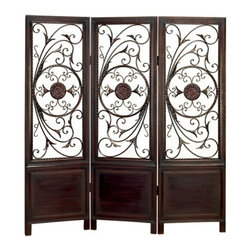 """BZBZ86285 - La Affaire Metal Wood Room Divider 3 Panel Screen - La Affaire metal wood room divider 3 panel Screen. In treated wood one of the best room divider screen for your home. Magnificently hand made by reputable artisans. This wood screen is done in hardwood metal scroll work. 3 panel room divider is 66"""" High and 63"""" Wide. Great add on for any room decor"""