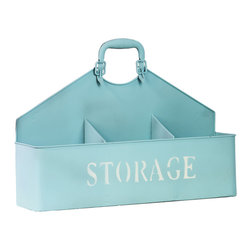 Metal Wall Storage Basket w/ 3 Shelves and Handle - Sky Blue - *Metal Wall Storage Basket with 3 Shelves and Handle Sky Blue