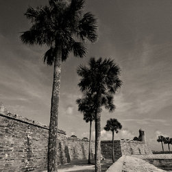 The Andy Moine Company LLC - Castillo De San Marcos St Augustine Florida Fine Art Black and White Photography - Black and White Fine Art Photography captured with 35MM Ilford Film and reproduced in Limited Editions on Brushed Aluminum. This is a beautiful wide angle composition of the historic Castillo De San Marcos in St Augustine in Florida. The Fort saw 251 years of continuous military possession by the Spanish, British and United States Militaries.