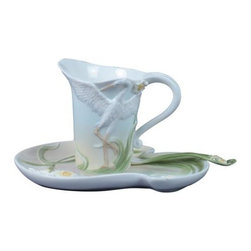 US - 4.25 Inch Glazed Porcelain 3 piece Egret Coffee Set with Spoon - This gorgeous 4.25 Inch Glazed Porcelain 3 piece Egret Coffee Set with Spoon  has the finest details and highest quality you will find anywhere! 4.25 Inch Glazed Porcelain 3 piece Egret Coffee Set with Spoon  is truly remarkable.
