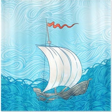 Sailboat Painting Shower Curtain by BestShowerCurtains