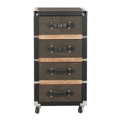 Safavieh - Brent 4 Drawer Rolling Chest/Black-Brown-Silver - Conjure your inner explorer. The black, brown and silver Brent Four-Drawer Rolling Chest brings home classic travelers' style with the texture of linen, leather straps and nail head details.  With casters and reinforced metal corners, Brent moves from home office to living room with ease. (Pending)